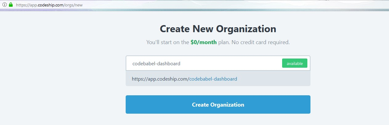 Creating Organization in Codeship
